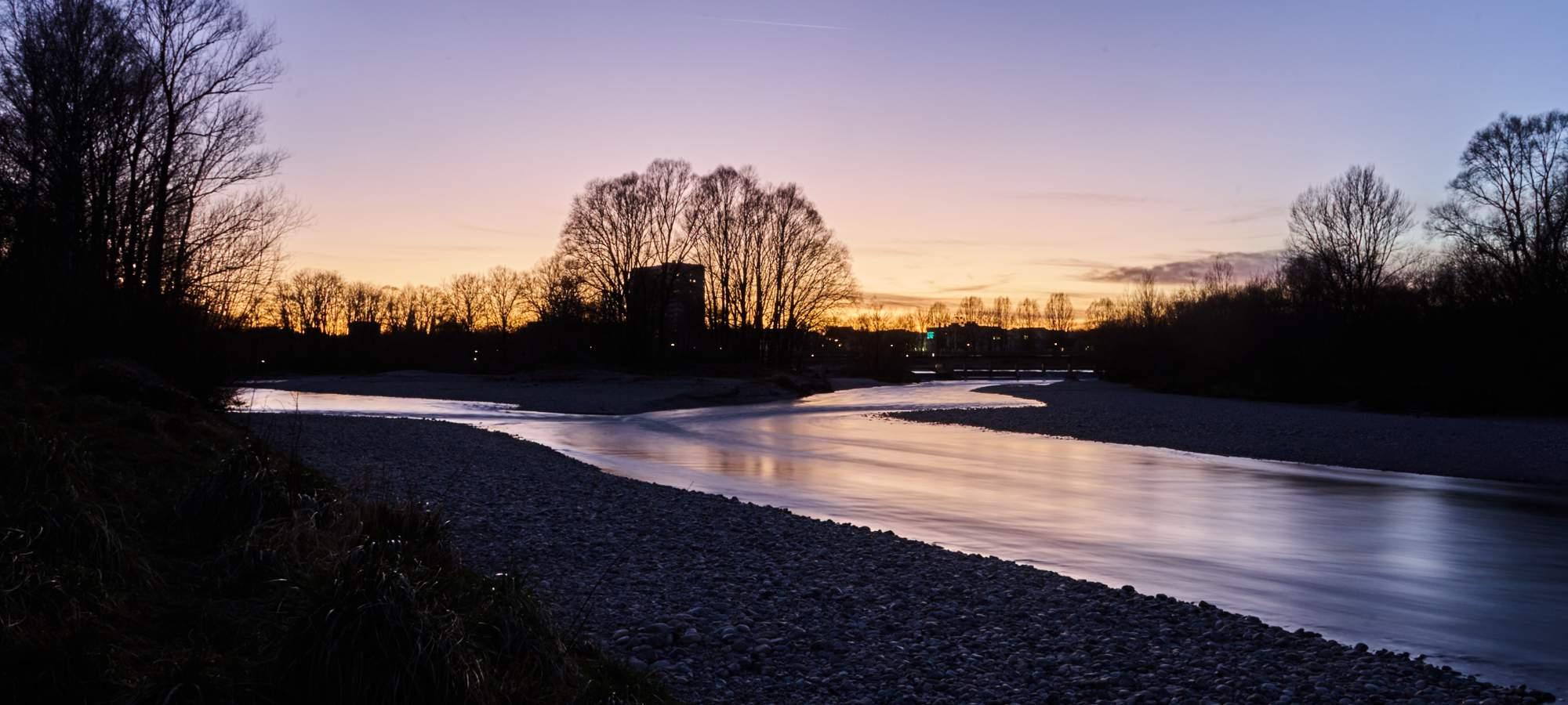 Abendrot-Fluss-Isar