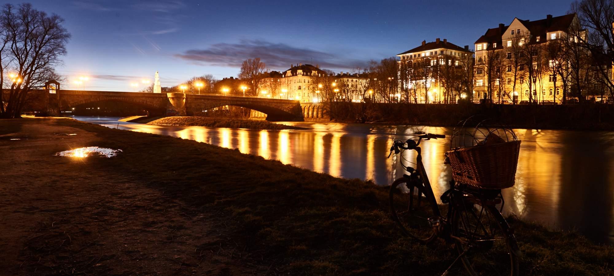 Isar-Ufer-Abend-Rad